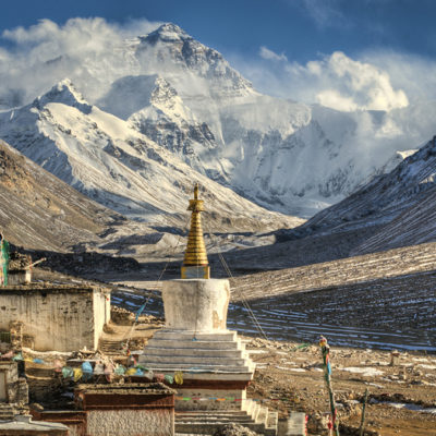 Rongbuk monastery with the backdrop of Mt. Everest
